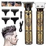 ELEpure - Cortapelos para hombre profesional con corte de pelo recargable con bajo ruido, corte estrecho, cortapelos para hombre eléctrico para uso doméstico y salón de peluquería (oro)
