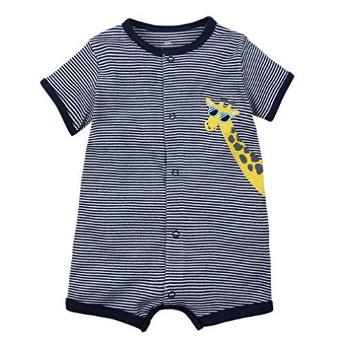Kauftree Kauftree Baby Spieler Strampler Playsuit Babyspieler Bodys Sommer Kurzarm Baumwolle Jungen Mädchen (6M, Giraffe)