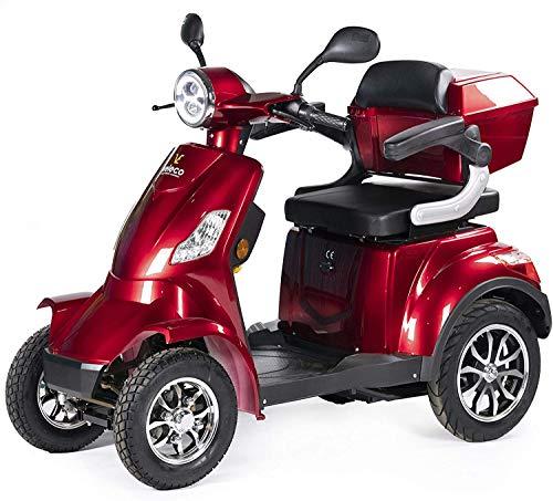 VELECO Seniorenmobil 4-Rad Elektromobil ElektroRoller 1000W FASTER (Rot)