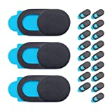 MerkleDesign Webcam Covers [20-Pack] - Slide Design Compatible with iPad Tablet, Phones, and Laptops - Privacy Protection Device (Black)