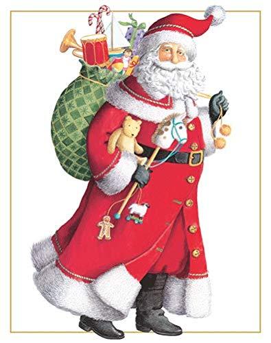 Caspari Santa With Toy Sack Boxed Christmas Cards - 16 Cards & Envelopes