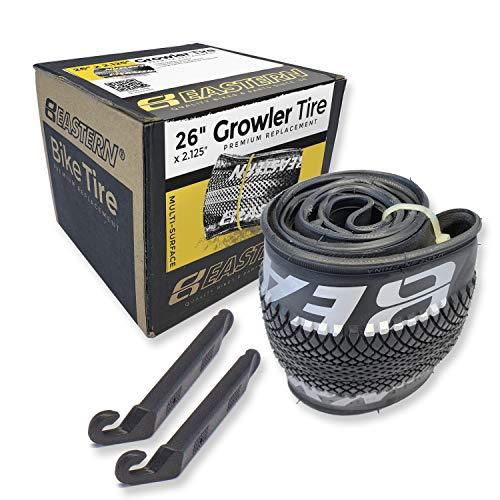 Eastern Bikes Growler Tire Kit de Repuesto de neumático de 26 x 2.125 Pulgadas con o sin Tubos Interiores. Incluye Herramientas. Se Adapta a Bicicletas con Llantas o Ruedas de 26 x 1,75 o 26 x 2,125.