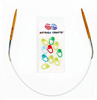 Artsiga Crafts Natures Bamboo Circular Knitting Needle Size 5.50mm/US 9 Tip-to-Tip Length 16 inches Metal Cable with 10 Stitch Markers and Resealable Pouch