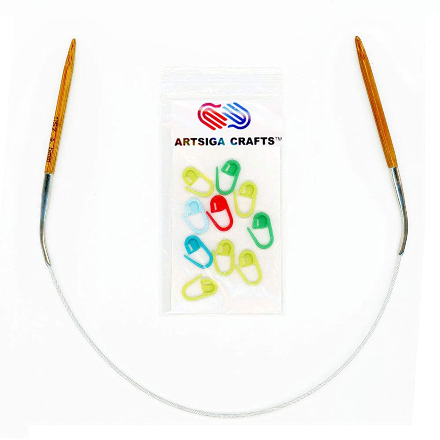Artsiga Crafts Natures Bamboo Circular Knitting Needle Size 3.0mm Tip-to-Tip Length 16 inches Metal Cable with 10 Stitch Markers and Resealable Pouch