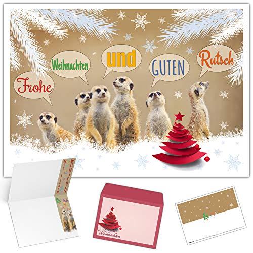 Weihnachtskarten mit Umschlag (15er Set) ERDMÄNNCHEN - witzige Klappkarten - ideal privat & geschäftlich - Frohe Weihnachten Karten von BREITENWERK