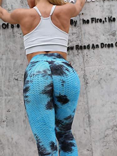 MQQM Running Fitness Estiramiento Yoga Legging,Pantalones de Fitness de Cadera Delgada, Pantalones de Burbujas de Yoga de Burbujas-Azul Negro_M,Yoga Running Training Leggings