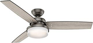 Hunter Indoor Ceiling Fan with LED Light and remote control - Sentinel 52 inch, Brushed Slate, 59211