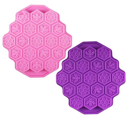 FineGood Silikon-Kuchenformen, 19 Mulden, Wabenmuster, für Muffins, Kekse, Backform, Süßigkeiten, Seife, geteilte Formen, Rosa und Violett, 2 Stück