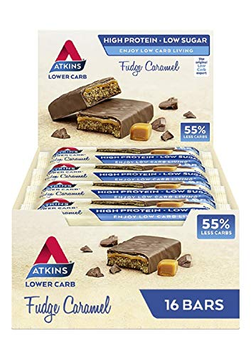 Atkins High Protein Bar, Keto Snack, Low Carb, Low Sugar Chocolate Fudge Caramel Snack Bar, Multipack of 16