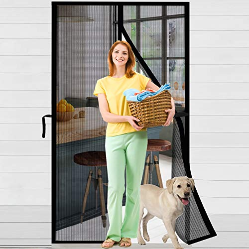 ACMETOP Cortina de malla magnética de fibra de vidrio resistente con cierres de velcro, cierre automático con 36 imanes, al viento con 6 varillas con peso, gancho y bucle para puerta de 90 x 210 CM
