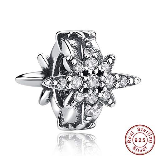 ZYYDXK Original 925 Sterling Silber Winter Schneeflocke Perlen Charm Fit Armbänder & Armreifen Authentic Jewelry Zubehör
