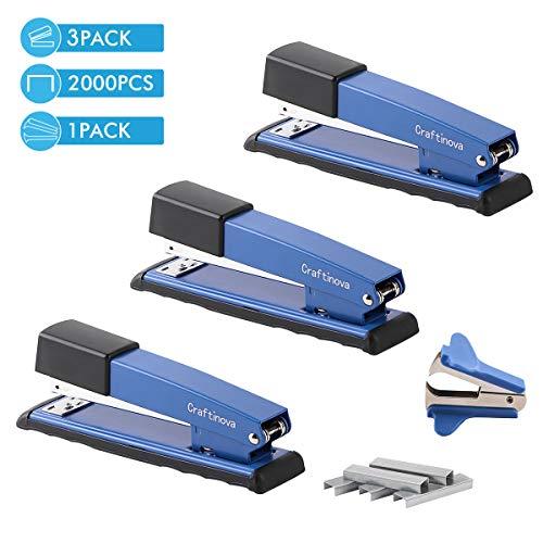 Craftinova Stapler,Office Stapler,Durable Metal Stapler ,20 Sheet Capacity,Includes 2000 Staples & Stapler Remover,3PACK,for Office or Home Office Supplies, Blue……