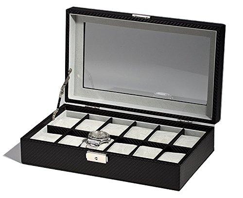 Rothenschild Uhrenbox RS-1098-12CFBL für 12 Uhren schwarz