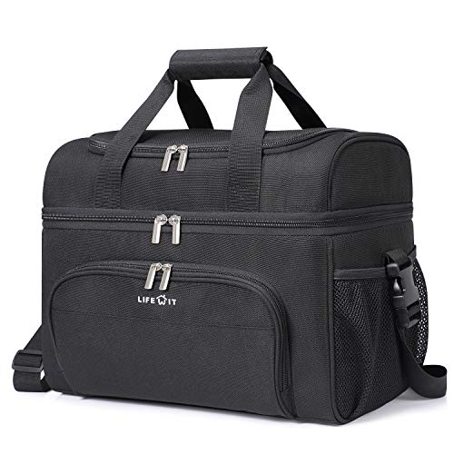 Lifewit Collapsible Cooler Bag 48-Can Insulated Leakproof Soft Cooler Portable Double Decker Cooler Tote for Beach/Picnic/Sports, Black