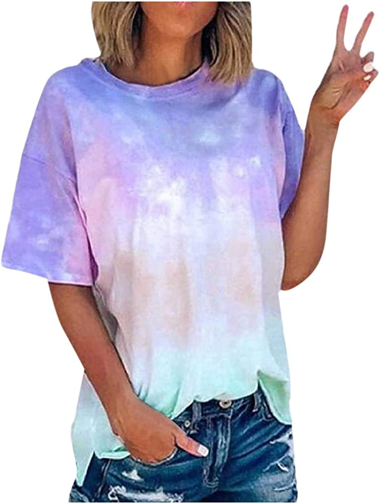 AODONG Summer Tops for Womens Casual Gradient Print T-Shirts Graphic Tee Blouses Summer Shirts Tunic Tops