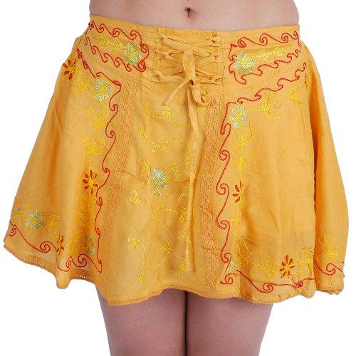 ufash Minirock Goa, Bestickt, mit verspielter Schnürung und elastischem Bund, Gelb