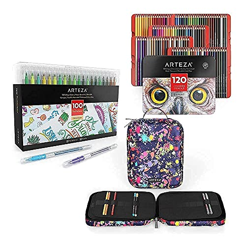 Arteza Colored Pencils with Artist Pencil Case and Dual Brush Pens TwiMarkers Bundle, Drawing Art Supplies for Artist, Hobby Painters & Beginners