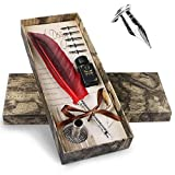 Philonext Feather Quill Pen Set,Quill Pen, Antique Calligraphy Pen Set with 5 Replacement Nibs,1Ink, 4 Retro Letter Paper ,2 Retro Envelopes,Pen Nib Base and1Gift Box