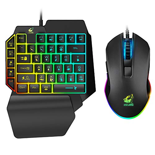 Ergonomic One-Handed Wired Mouse Gaming Keyboard Set for Mobile Phone - LED Backlight Glow Single Hand Mechanical Feeling Keyboard