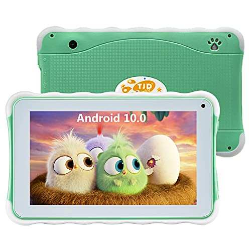 TJD 7 inch Tablet for Kids, Android 10.0 Kids Tablet with Educational Learning Software Pre-installed, Parent Control, Quad-Core Wi-Fi Bluetooth Dual Cameras Silicon Case for Boys Girls MT-762QU Green