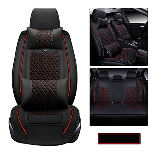 Car Seat Covers PU Leather Waterproof fit for Honda Passport 2000-2020 5-Seats car seat Protector- with Headrest and Lumbar Cushion Black and red