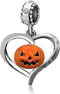 JMQJewelry Heart Halloween Love Pumpkin Dangle Charms Beads for Bracelet Women Jewelry