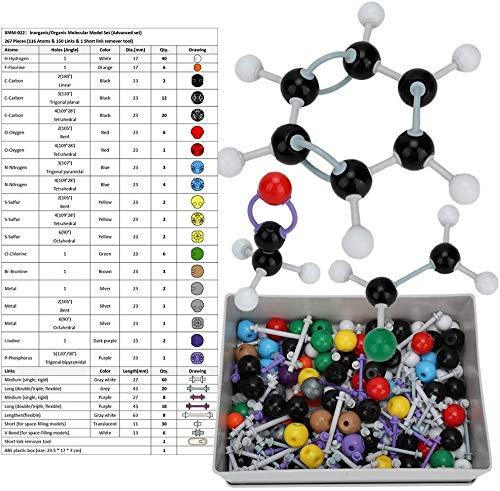 Modelo molecular, 267PCS Kit de estructura de bioquímica inorgánica orgánica molecular Modelo de enlace atómico Química Conjunto de estructura de órbita electrónica para niños Educación Enseñanza