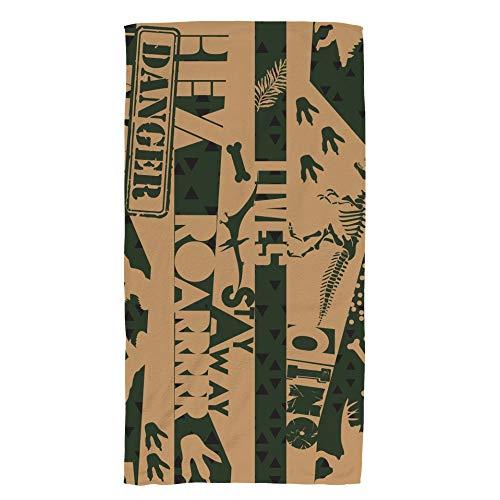 Ruchen Hand Towels Face Towels Retro Dino Dinosaur Grunge beige Soft Absorbency 76×38cm