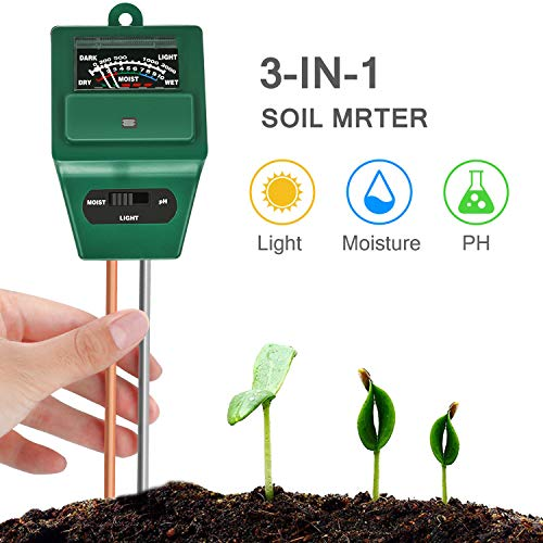 Bearbro 3-in-1 Soil pH Meter,Test Kit for Moisture,Soil Moisture Meter,Great for Home and Garden, Lawn, Farm, Indoor & Outdoor Use