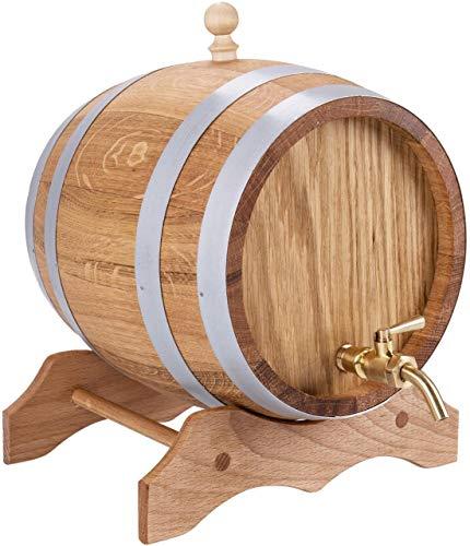 Sannys Eichenfass 1 Liter mit Bock Messinghahn und Gravur geölt