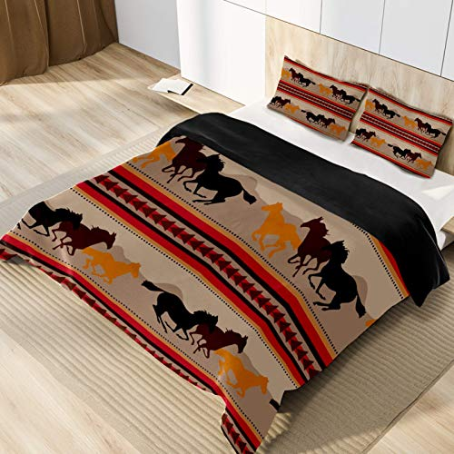 Running Horse Microfiber 3pcs Bedding Duvet Cover Set, Queen Size, Soft and Breathable with Zipper Closure & Corner Ties for Men Women Kids Teens