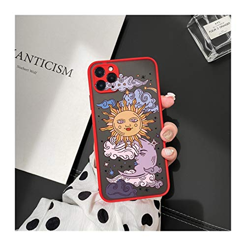 KEHUITONG PSWK Jamular Funny Sun Moon Face Funda a Prueba de Golpes para iPhone 11 / Pro / 12/7 / XS/MAX/X/XR / SE20 / 8 / Plus TPU Matte CUCHE CUBIERTE (Color : Style 5, Material : For iPhone 6 6s)