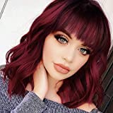 Nnzes Bob Curly Wig Synthetic Short Wine Red Wig with Bangs Natural Looking Heat Resistant Fiber Hair for Women