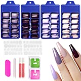 Allstarry 400pcs Press on Nails Extra Long Ballerina Coffin Fake Nails Acrylic Artificial Nails Purple Full Cover Colorful Nails with Box Nail Accessories for Women and Girls