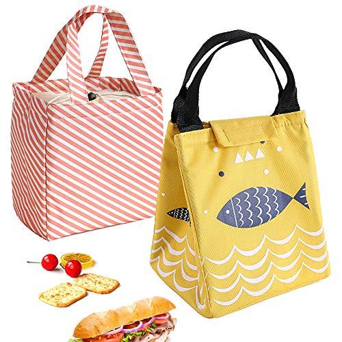 Chingde Isoliertasche Lunchbag, 2 Stück Kühltasche Thermotasche Lunchbag Wasserdicht Brotdosen Isoliertasche Picknick bento Tragbare Lunchtasche Kühltasche Bag für Arbeit Schule Reise