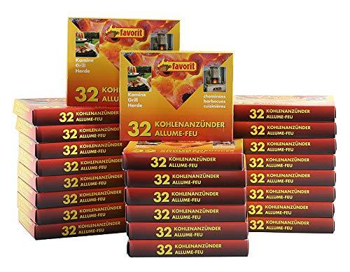 FAVORIT 24 Pack Kohleanzünder á 32 Würfel = 768 Stück Grillanzünder BBQ Anzünder