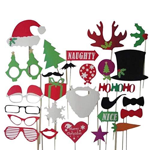27pcs Weihnachten Sankt-Hut-Partei-Schablonen Photo Booth Requisiten auf einem Stock