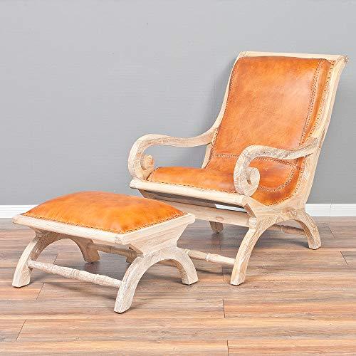 LEBENSwohnART Ledersessel Bahia aus Teak & Leder in White Wash mit Hocker Liegesessel Sessel