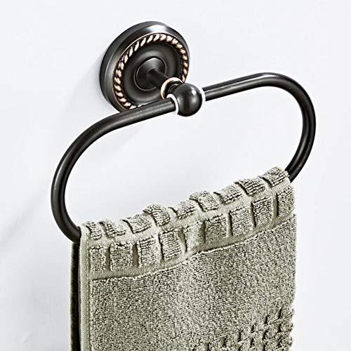 BOAOTX Handtuchring Schwarz Nostalgie Bad Handtuchhalter Nostalgie Handtuchstange Wandmontage zum Bohren für WC Badezimmer Küche Dusche aus Messing