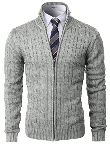 H2H Mens Casual Slim Fit Knitted Cardigan Zip-up Long Sleeve Thermal with Twisted Pattern Gray US L/Asia XL (CMOCAL038)