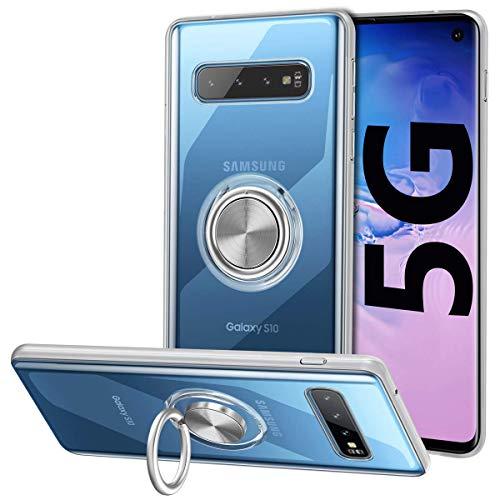 Vunake Galaxy S10 5G Hülle, Silikon TPU Hülle Cover mit 360 Grad Ring Stand dünn Handyhülle Magnetische Autohalterung Slim Schutzhülle Fingerhalter Weiche Handgriff Tasche für Samsung Galaxy S10 5G,Clear