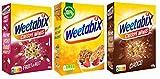 Weetabix 3 pcs. juego de prueba Minis Fruit & Nut, Choco & Original - Cereales de desayuno - Cereales integrales - Alto contenido en fibra, 2x450g+1x430g