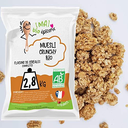 [Ma] bio-épicerie | Muesli Crunchy BIO | 2,8 Kg | Sachet vrac | Certifié biologique | Céréales complètes riches en fibres | Croustillant et gourmand