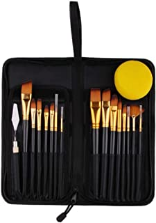 Newest Paint Brushes Set - Professional Quality 15 Pcs Natural Brushes Includes Free Palette Knife and Pop-up Carrying Case for Acrylic, Oil, Watercolor and Gouache Painting