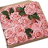 JaosWish Rose Artificielle Fausse Fleur rosée 25 pcs Tige Feuille Ajustable Touche réelle déco Mariage Restaurant Maison Anniversaire Chambre Table Armoire