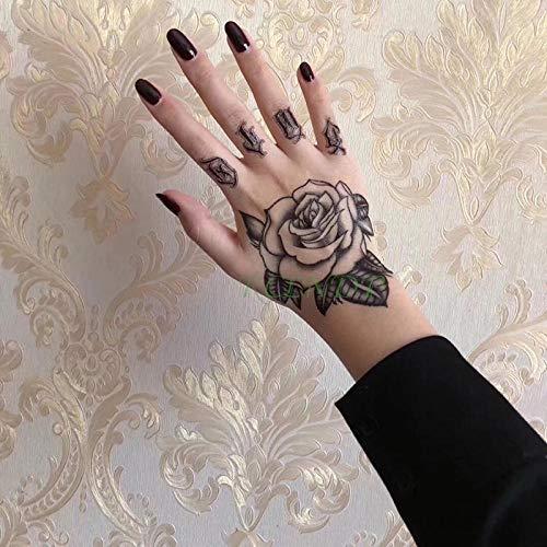 Waterdichte Tijdelijke Tattoo Sticker Skull Head Fake Tatto Flash Tatoo hand voet tatouage voor Meisje Mannen Vrouwen femme-Zwart
