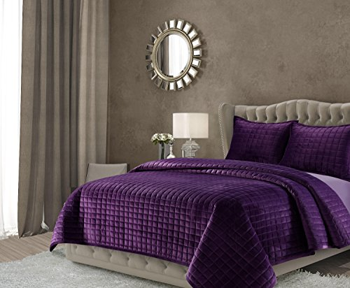 Tribeca Living FLORENCEQUIKIPU Florence Velvet Oversized Solid Quilt Set, King, Purple