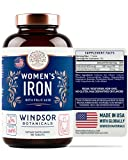 Iron Supplement for Women - Menstruation and Pregnancy Support Iron Pills - Windsor Botanicals Vitamin and Mineral Formula - 180 Tablets