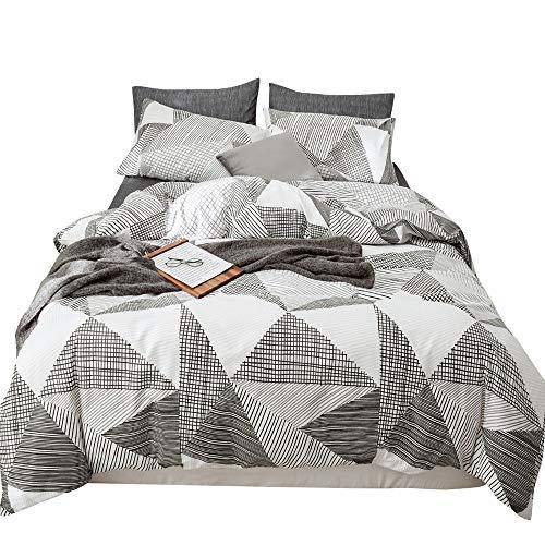 Juego de ropa de cama para adolescentes y niños, diseño de triángulo, tamaño Queen, diseño geométrico, color gris, juego de cama...