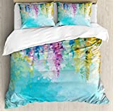 Ambesonne Flower Duvet Cover Set, Abstract Ivy Romantic and Landscape Spring Floral Artwork Nature Theme, Decorative 3 Piece Bedding Set with 2 Pillow Shams, King Size, Turquoise Purple